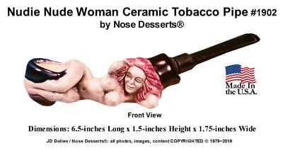 Nude Naked Woman Tobacco Pocket Pipe #1902 Ceramic Glass Niki, Hand Made in USA