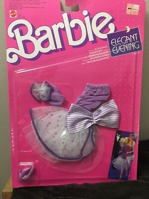 VTG Barbie Mattel Clothing NIP Sealed 1988 Elegant Evening Purple Dress & Shoes