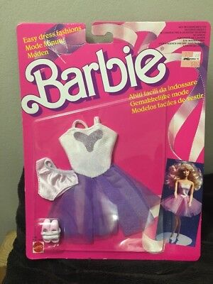 VTG Barbie Mattel Clothing NIP Sealed 1988 Easy Dress Fashions Purple Dress Shoe