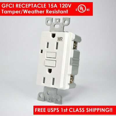 15A Tamper Weather Resistant (TR/WR) GFCI Outlet w/ Wallplate LED UL