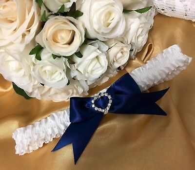 WEDDING GARTER white satin Navy blue heart crystal gift for bride bridal shower