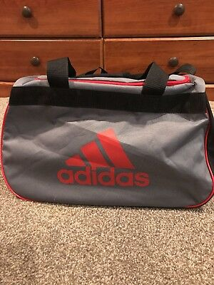 a6a0c8ffdc NWT Adidas Diablo Small Duffel Bag Gray Black Red Sport Gym Travel  Expandable