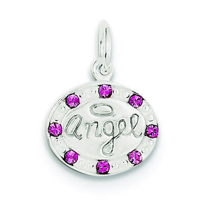 .925 Sterling Silver with Stellux Crystal Children's Angel Charm Pendant
