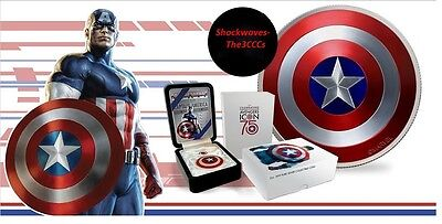 2016 Fiji 2 oz. Proof Silver Domed Marvel Captain America Shield Coin