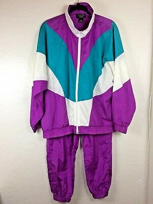 Vintage 80's Nylon Jogging 2 Piece Set Jacket Pants Bat-wing Color Block Purple