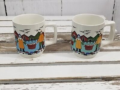 Torskefiske Norway Mug Cup coffee Tea set AS IS GERD Fisherman fishing Flint