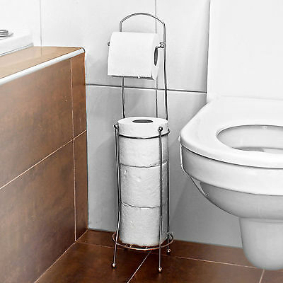 Chrome Free Standing Bathroom Toilet Paper Roll Holder Dispenser 4 Roll  Storage