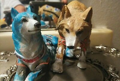 """6.25""""L & 5' lot of 2) Snow White Wolf w Turquoise &Brown Tribal Figurines Statue"""