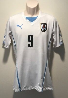 Authentic Puma 2014 Uruguay Men s Away Soccer Jersey Large Game Issued ROLAN 70c8f486e