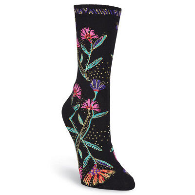 Laurel Burch Women's Wild Flower Design Crew Socks - One Pair