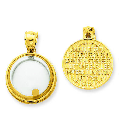 """14K Yellow Gold Mustard Seed If Ye Have Faith"""" Round Charm Pendant MSRP $953"""