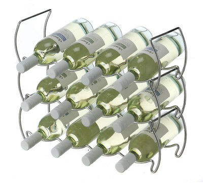 Set Of 3 Wine Rack Storage Organizer Stackable Bottle Holder Display Bar Metal