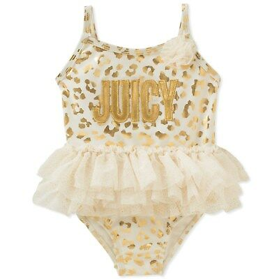 JUICY COUTURE baby girl SWIMSUIT 3 6 9 12 18 24M gold tutu 1 piece swimming BNWT