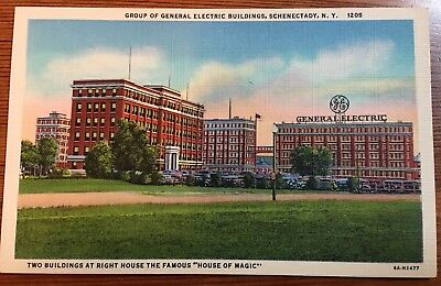 Vintage Schenectady General Electric Plant New York Linen 1930's Postcard New