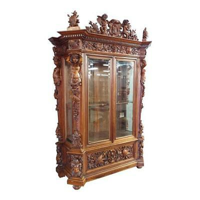 "19th century ""Highly carved"" Italian Renaissance Bookcase w/Nude female Figures"