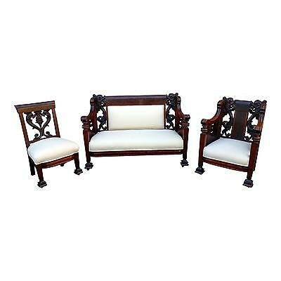 19th century Highly carved Settee w/2 Chairs -Gorgeous Victorian Parlor Set