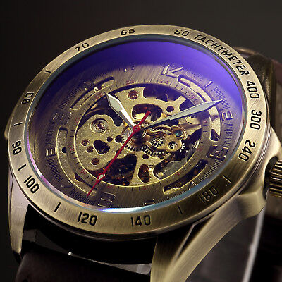 ... Vintage Bronze Automatic Mechanical Skeleton Brown Leather Band Men Sport Watch