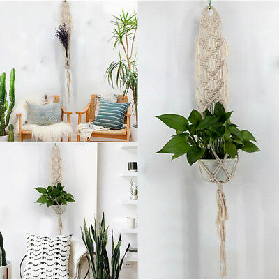 Macrame Plant Hanger Hanging Pot Holder Planter Basket Jute Rope Braided Cotton