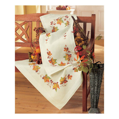 Embroidery Kit Tablecloth Autumn Leaves Design Stitched on Ecru  Size 80 x 80cm