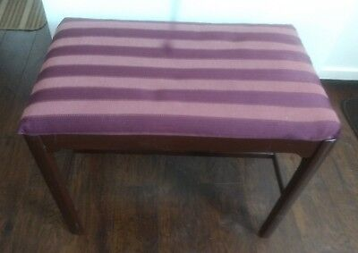 Vintage Wood & Upholstered Vanity, Sewing Stool or Piano Bench