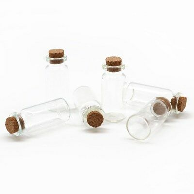 Small Mini 10ml Glass Vial Jars Jar Cork Stopper Lid Craft Bottles Containers