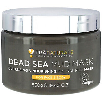 PraNaturals Dead Sea Mud Mask Face & Body Dull Skin Deep Cleansing 550g