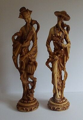 Vintage Pair Male & Female Oriental Chinese Resin Figures Statue