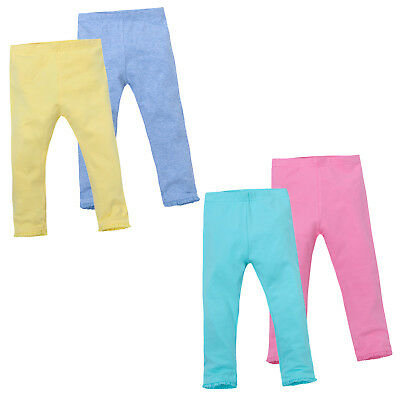 Baby Girls 2 Pack Leggings Cotton Rich Soft Pants Trousers Ruffles Frill Hem