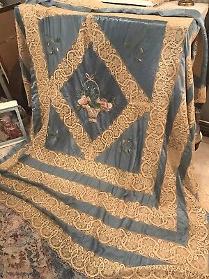 Antique Silk Lace Embroidered Bed Cover Set! French? Stumpwork Not Perfect!
