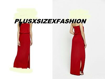 Ladies Dress Plus Size 20 Evening Party Wedding Bandeau Jersey Maxi Red Bnwt Uk