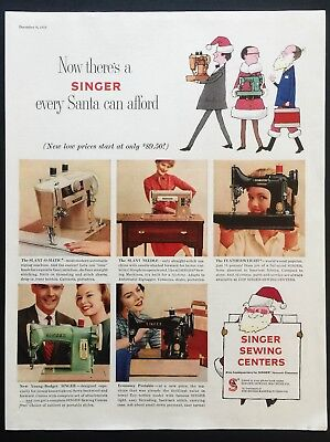 1958 Vintage Print Ad 50's SINGER Sewing Center Santa Christmas Image