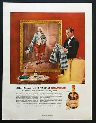 1958 Vintage Print Ad 50's DRAMBUIE Scotch Whisky Empress Chinchilla Wrap Revlon