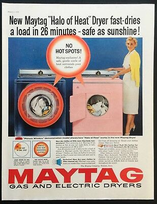 1958 Vintage Print Ad 50's MAYTAG Pink Dryer Washer Laundry Mid Century Image