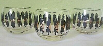 Mid Century Modern Roly Poly Set of 3 Cordial Atomic Shot Whiskey Glasses 3 Oz.!