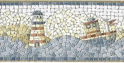Lighthouse & Tugboat Mosaic Wallpaper Border 49-062