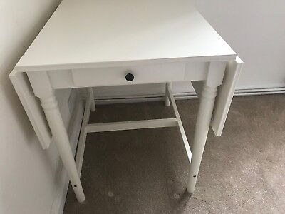 Ikea White Ingatorp Drop Leaves Table With Drawer Seats 4 6000