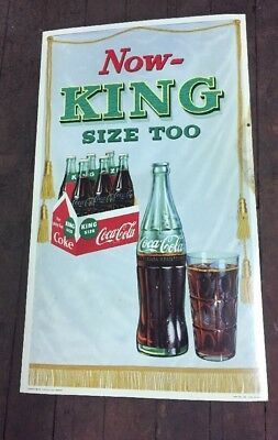 "Vintage Coca Cola Cardboard Sign -NOT Poster-1958 ""King Size Too"" Coke"