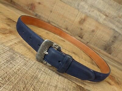 Gap Belt Nubuck Leather Solid Brass Buckle Distressed Blue 32 Vtg USA