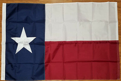 3x5 Texas State Flag Embroidered Flag Pole Sleeve Banner Pocket FAST US SHIPPING