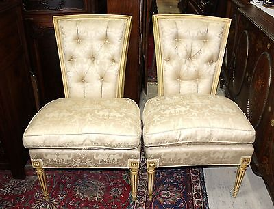Pair of French Antique White Upholstered Louis XVI Living Room Accent Chairs