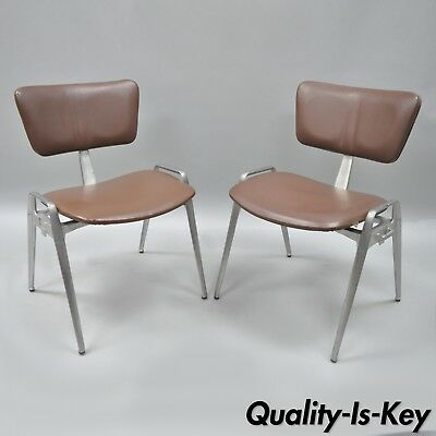 Pair Vtg Cast Aluminium Stacking Side Chairs by Crucible Mid Century Modern A
