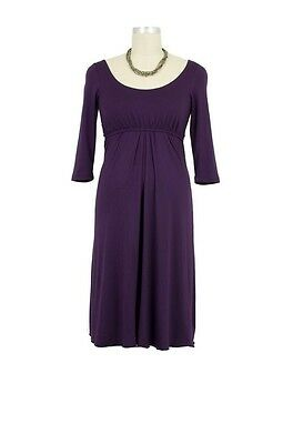 NEW Larrivo Maternity Nursing Dress *SMALL* sz 4-6 Empire Waist $74 PURPLE