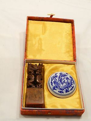 Vintage Asian Wax Seal Kit, Handcarved Stamp, Pottery Wax Dish