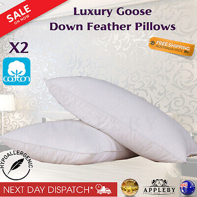 2 x Luxury Hotel Duck Down Feather Pillows 5 Star Home Bedding 100% Cotton Cover
