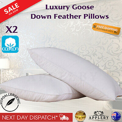 2 x Luxury Hotel Goose Down Feathers Pillow Premium Quality Cotton Luxury Pillow