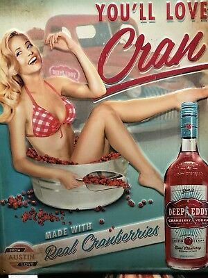 DEEP EDDY Cranberry VODKA  Red Haired Girl Embossed Tin  SIGN (Nice++) Texas New