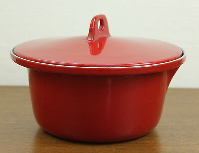 VOSS Red Cast Iron Enamel Casserole Pot with Lid Vintage 2 QT Made in Denmark