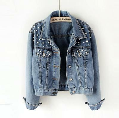 Womens Fashion Washed Old Blue Pearls Denim Jacket Chic Casual Jean Short Coats