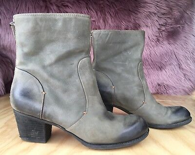 5341fef0545f3 CROWN VINTAGE WOMEN'S Gray Brown Ankle Boots Distressed Leather Booties  size 8.5