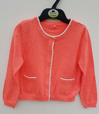 NEW Ex M&S Girls Cardigan Coral. Age 6 9 12 18 24 months 2 3 4 5 Years.